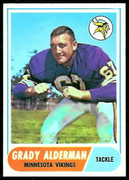 Grady Alderman 1968 Topps football card