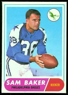 Sam Baker 1968 Topps football card