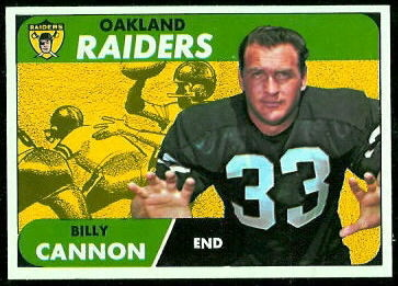 Billy Cannon 1968 Topps football card