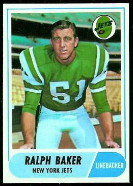 Ralph Baker 1968 Topps football card