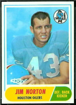 Jim Norton 1968 Topps football card