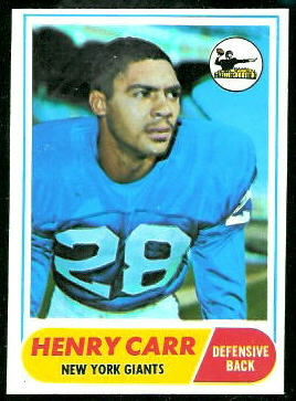 Henry Carr 1968 Topps football card