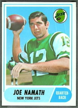 Joe Namath 1968 Topps football card
