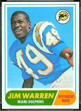Jim Warren 1968 Topps football card