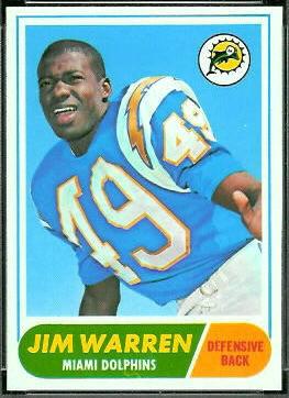 Jim Warren 1968 Topps football card