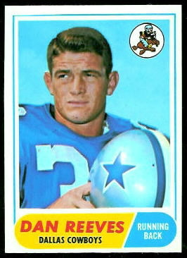 Dan Reeves 1968 Topps football card