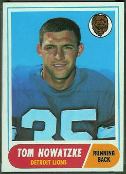 Tom Nowatzke 1968 Topps football card