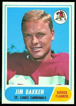 Jim Bakken 1968 Topps football card