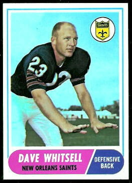 Dave Whitsell 1968 Topps football card
