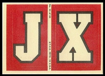 J and X 1968 Topps Test Team Patches football card