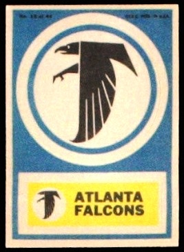Atlanta Falcons 1968 Topps Test Team Patches football card