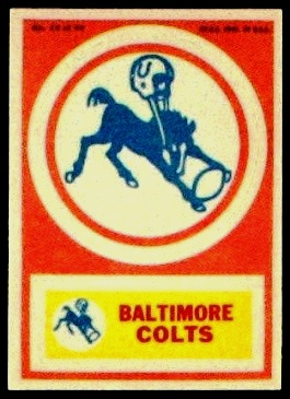 Baltimore Colts 1968 Topps Test Team Patches football card