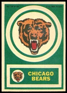 Chicago Bears 1968 Topps Test Team Patches football card