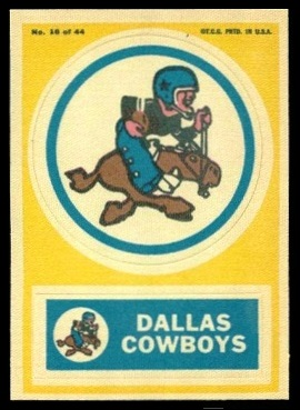 Dallas Cowboys 1968 Topps Test Team Patches football card