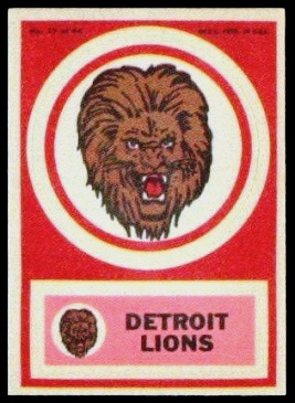 Detroit Lions 1968 Topps Test Team Patches football card