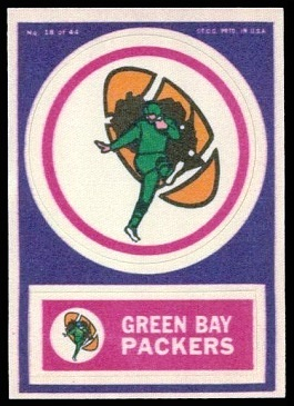 Green Bay Packers 1968 Topps Test Team Patches football card