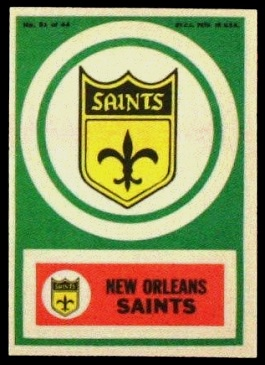 New Orleans Saints 1968 Topps Test Team Patches football card