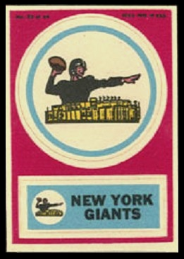 New York Giants 1968 Topps Test Team Patches football card