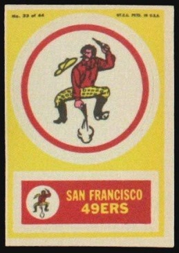 San Francisco 49ers 1968 Topps Test Team Patches football card
