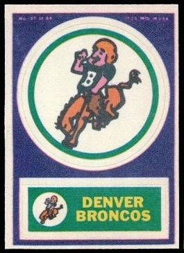 Denver Broncos 1968 Topps Test Team Patches football card