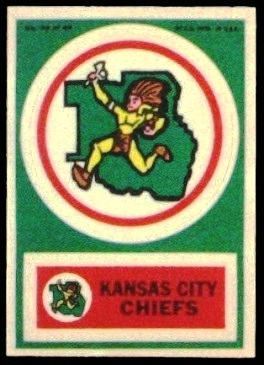 Kansas City Chiefs 1968 Topps Test Team Patches football card