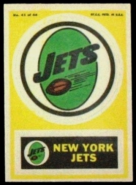 New York Jets 1968 Topps Test Team Patches football card
