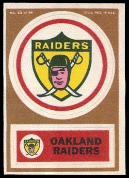 Oakland Raiders 1968 Topps Test Team Patches football card
