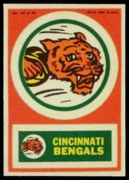 Cincinnati Bengals 1968 Topps Test Team Patches football card
