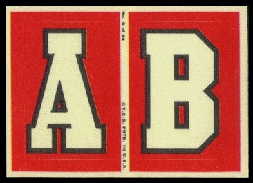 A and B 1968 Topps Test Team Patches football card