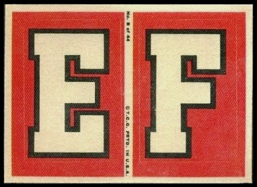 E and F 1968 Topps Test Team Patches football card