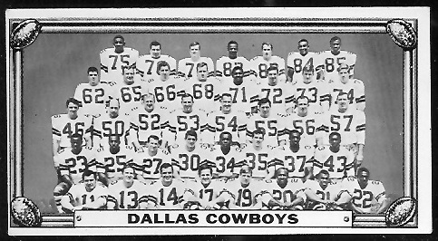 Dallas Cowboys Team 1968 Topps Test Team Photos football card