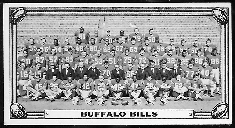 Buffalo Bills Team 1968 Topps Test Team Photos football card