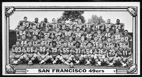 San Francisco 49ers Team 1968 Topps Test Team Photos football card