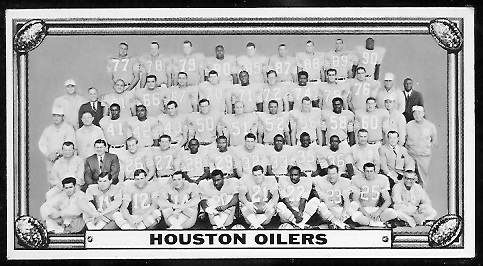 Houston Oilers Team 1968 Topps Test Team Photos football card