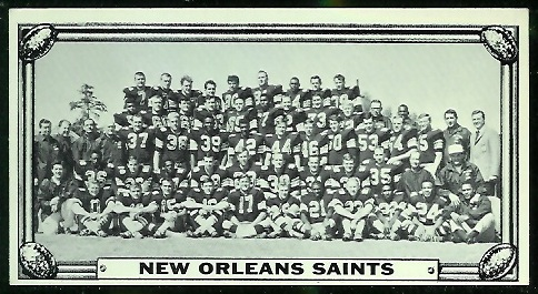 New Orleans Saints Team 1968 Topps Test Team Photos football card