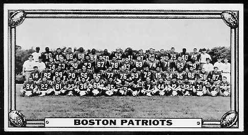 Boston Patriots Team 1968 Topps Test Team Photos football card
