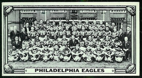 Philadelphia Eagles Team 1968 Topps Test Team Photos football card