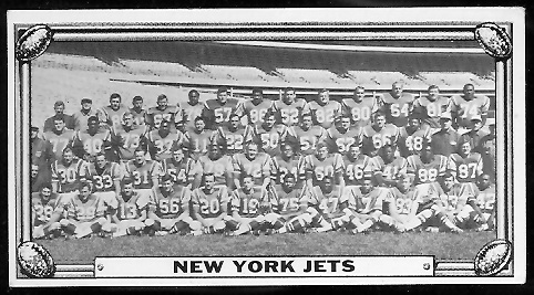 New York Jets Team 1968 Topps Test Team Photos football card