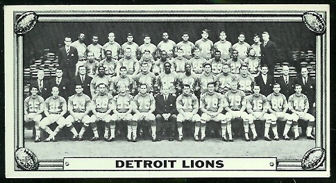 Detroit Lions Team 1968 Topps Test Team Photos football card