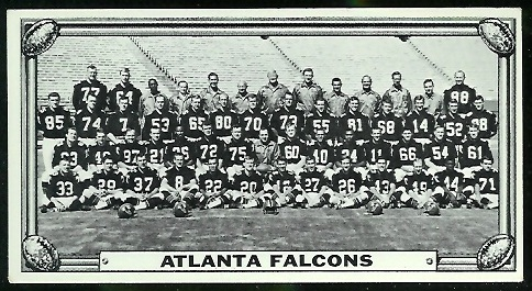 Atlanta Falcons Team 1968 Topps Test Team Photos football card