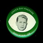Don Horn 1969 Drenks Packers Pins football card