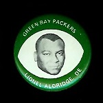 Lionel Aldridge 1969 Drenks Packers Pins football card