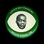 Willie Wood 1969 Drenks Packers Pins football card