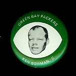 Ken Bowman 1969 Drenks Packers Pins football card