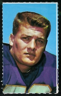 Mick Tingelhoff 1969 Glendale Stamps football card