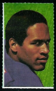 O.J. Simpson 1969 Glendale Stamps football card