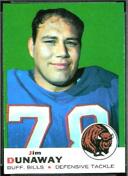 Jim Dunaway 1969 Topps football card