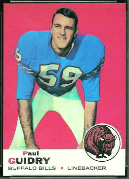 Paul Guidry 1969 Topps football card