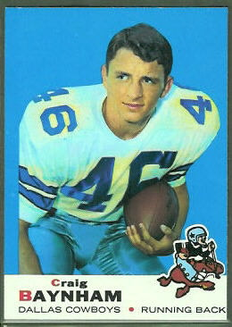 Craig Baynham 1969 Topps football card