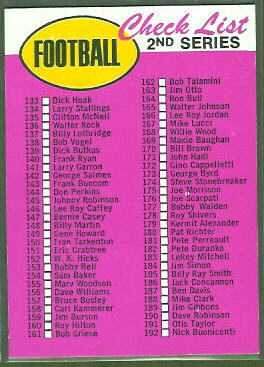 2nd Series Checklist (no border) 1969 Topps football card